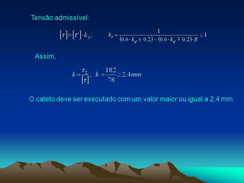 Tensão admissível: Assim, O cateto deve ser executado com um valor maior ou igual a 2,4 mm.