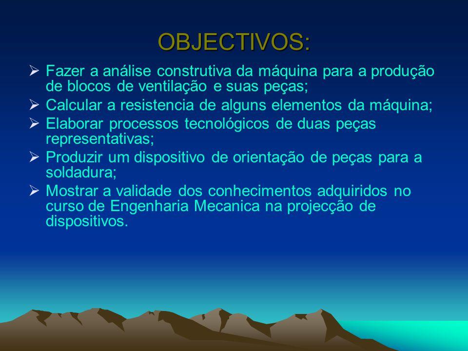 OBJECTIVOS:  Fazer a análise construtiva da máquina para a produção de blocos de ventilação e suas peças;  Calcular a resistencia de alguns elemento