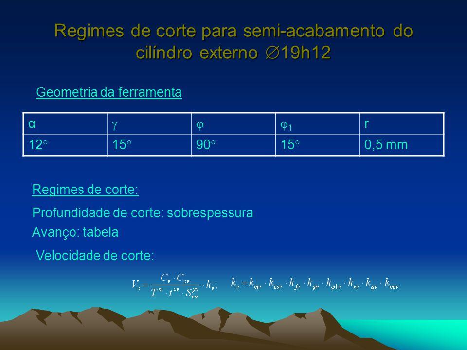 Regimes de corte para semi-acabamento do cilíndro externo  19h12 α 11 r 12  15  90  15  0,5 mm Geometria da ferramenta Regimes de corte: Prof
