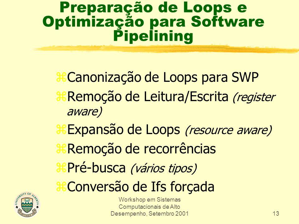 Workshop em Sistemas Computacionais de Alto Desempenho, Setembro 200113 Preparação de Loops e Optimização para Software Pipelining zCanonização de Loops para SWP zRemoção de Leitura/Escrita (register aware) zExpansão de Loops (resource aware) zRemoção de recorrências zPré-busca (vários tipos) zConversão de Ifs forçada