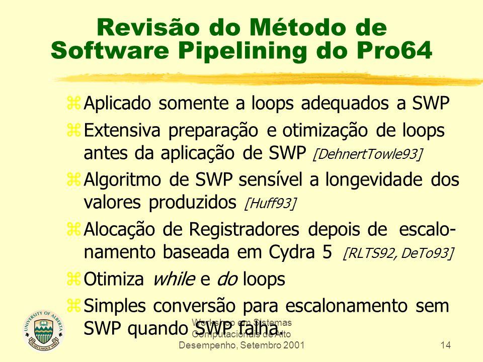 Workshop em Sistemas Computacionais de Alto Desempenho, Setembro 200114 Revisão do Método de Software Pipelining do Pro64 zAplicado somente a loops adequados a SWP zExtensiva preparação e otimização de loops antes da aplicação de SWP [DehnertTowle93] zAlgoritmo de SWP sensível a longevidade dos valores produzidos [Huff93] zAlocação de Registradores depois de escalo- namento baseada em Cydra 5 [RLTS92, DeTo93] zOtimiza while e do loops zSimples conversão para escalonamento sem SWP quando SWP falha.