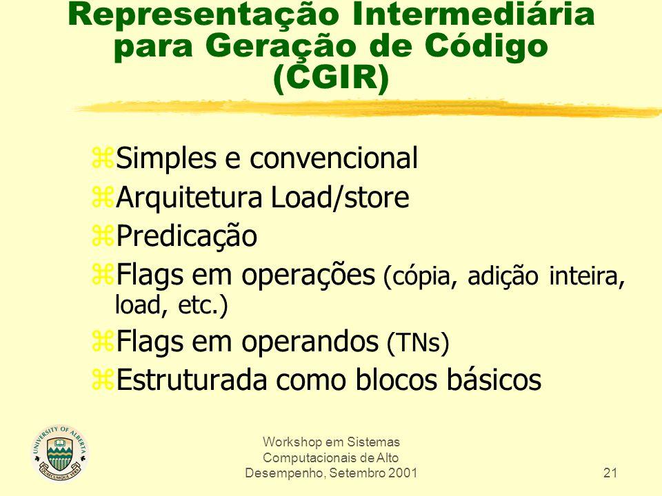 Workshop em Sistemas Computacionais de Alto Desempenho, Setembro 200121 Representação Intermediária para Geração de Código (CGIR) zSimples e convencio
