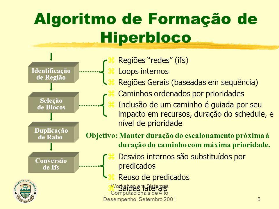 Workshop em Sistemas Computacionais de Alto Desempenho, Setembro 200126 zInformação passada: yinformação de alias yinformação de loop ytabela de símbolos e mapeamentos Do WHIRL ao CGIR Cont'd