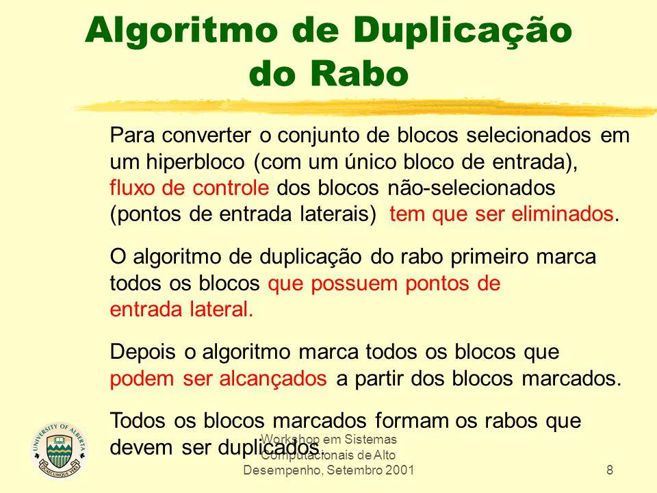 Workshop em Sistemas Computacionais de Alto Desempenho, Setembro 20018 Algoritmo de Duplicação do Rabo Para converter o conjunto de blocos selecionado