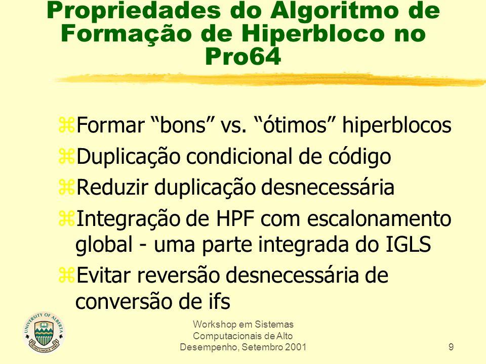 Workshop em Sistemas Computacionais de Alto Desempenho, Setembro 200110 Formação de Hiperbloco - Um Exemplo aa = a[i]; bb = b[i]; switch (aa) { case 1: if (aa < tabsiz) aa = tab[aa]; case 2: if (bb < tabsiz) bb = tab[bb]; default: ans = aa + bb; 1 4,5 2 6,7 8 (a) Fonte 1 42 5 6 7 8 1 24 5 6 7 8 6' 8' 7' (b) CFG (c) Formação de Hiperblocos com duplicação agressiva de rabo H1H2