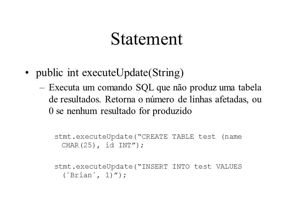 Statement public int executeUpdate(String) –Executa um comando SQL que não produz uma tabela de resultados.