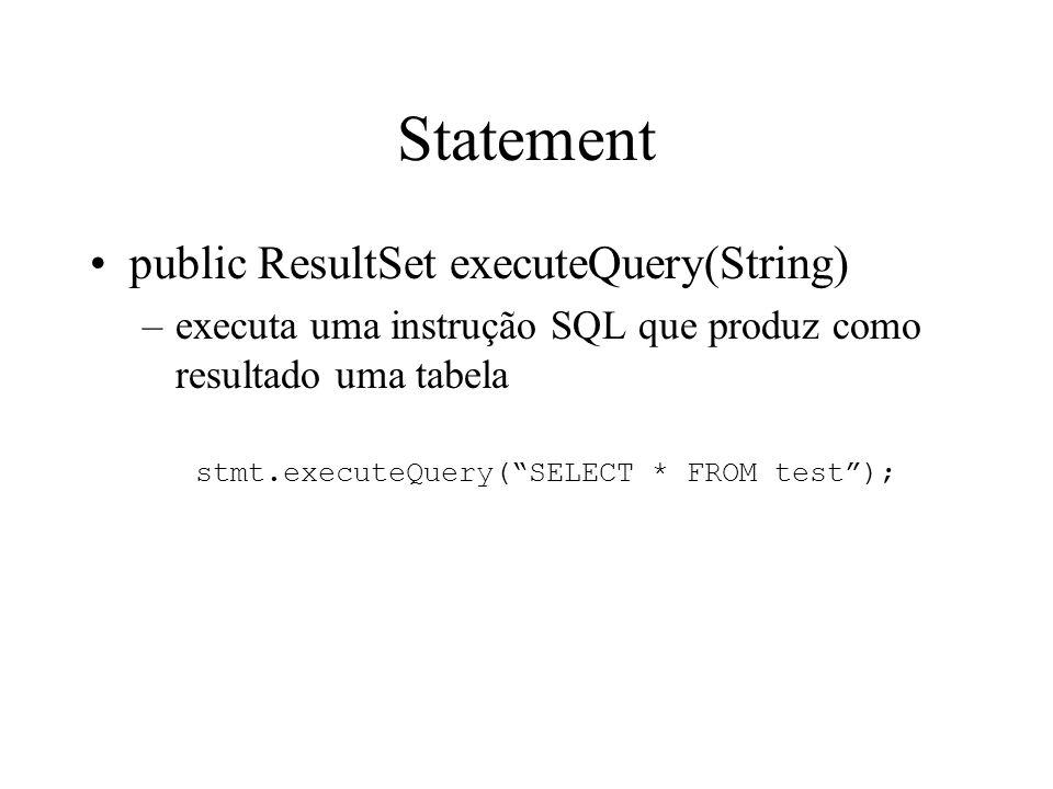 Statement public ResultSet executeQuery(String) –executa uma instrução SQL que produz como resultado uma tabela stmt.executeQuery( SELECT * FROM test );