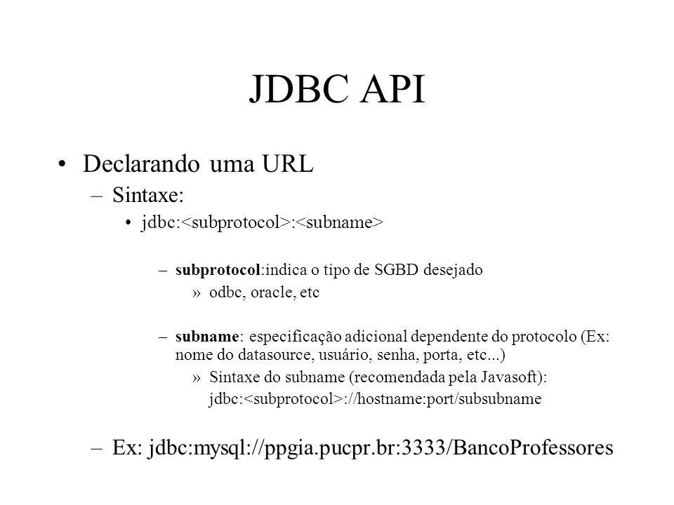 JDBC API Declarando uma URL –Sintaxe: jdbc: : –subprotocol:indica o tipo de SGBD desejado »odbc, oracle, etc –subname: especificação adicional dependente do protocolo (Ex: nome do datasource, usuário, senha, porta, etc...) »Sintaxe do subname (recomendada pela Javasoft): jdbc: ://hostname:port/subsubname –Ex: jdbc:mysql://ppgia.pucpr.br:3333/BancoProfessores