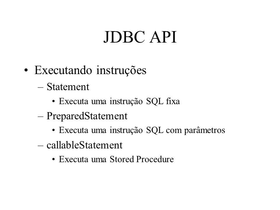 JDBC API Executando instruções –Statement Executa uma instrução SQL fixa –PreparedStatement Executa uma instrução SQL com parâmetros –callableStatement Executa uma Stored Procedure