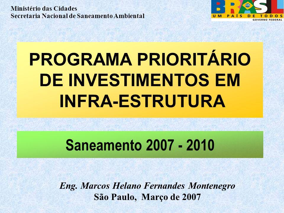 Ministério das Cidades Secretaria Nacional de Saneamento Ambiental PROGRAMA PRIORITÁRIO DE INVESTIMENTOS EM INFRA-ESTRUTURA Eng.
