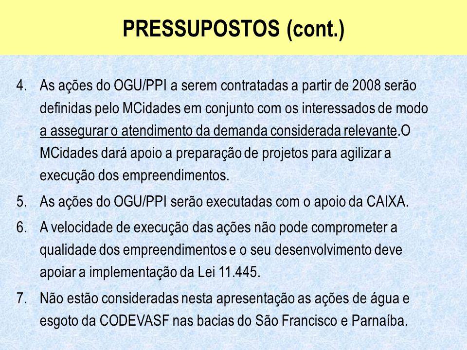 Ministério das Cidades Secretaria Nacional de Saneamento Ambiental PRESSUPOSTOS (cont.) 4.As ações do OGU/PPI a serem contratadas a partir de 2008 ser