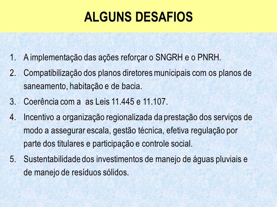 Ministério das Cidades Secretaria Nacional de Saneamento Ambiental ALGUNS DESAFIOS 1.A implementação das ações reforçar o SNGRH e o PNRH. 2.Compatibil