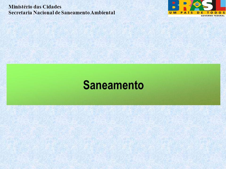 Ministério das Cidades Secretaria Nacional de Saneamento Ambiental Saneamento