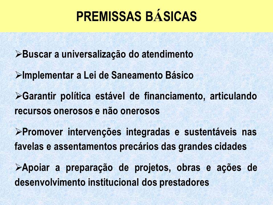 Ministério das Cidades Secretaria Nacional de Saneamento Ambiental PREMISSAS B Á SICAS  Buscar a universalização do atendimento  Implementar a Lei d