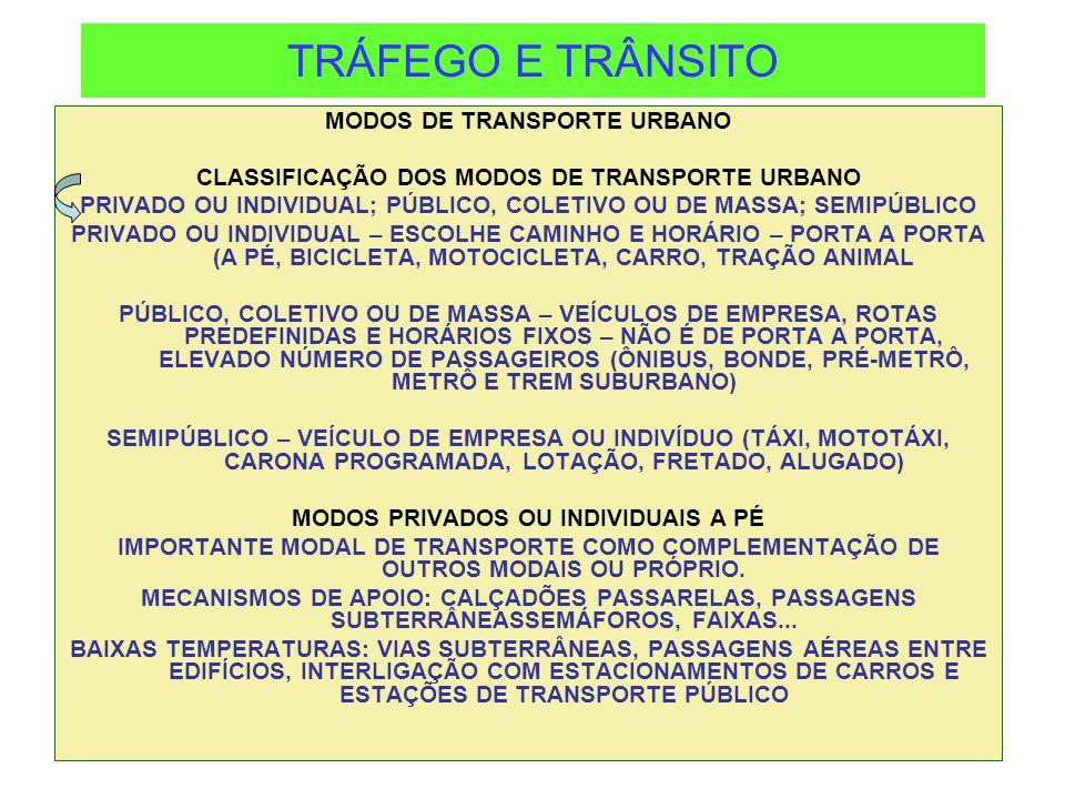 TRÁFEGO E TRÂNSITO MODOS DE TRANSPORTE URBANO CLASSIFICAÇÃO DOS MODOS DE TRANSPORTE URBANO PRIVADO OU INDIVIDUAL; PÚBLICO, COLETIVO OU DE MASSA; SEMIP