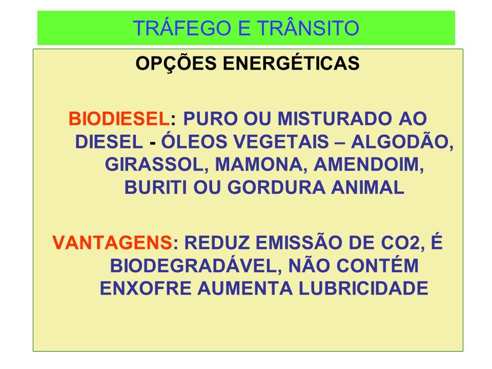 TRÁFEGO E TRÂNSITO OPÇÕES ENERGÉTICAS BIODIESEL: PURO OU MISTURADO AO DIESEL - ÓLEOS VEGETAIS – ALGODÃO, GIRASSOL, MAMONA, AMENDOIM, BURITI OU GORDURA