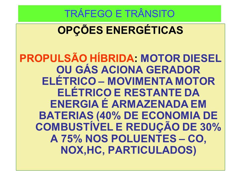TRÁFEGO E TRÂNSITO OPÇÕES ENERGÉTICAS PROPULSÃO HÍBRIDA: MOTOR DIESEL OU GÁS ACIONA GERADOR ELÉTRICO – MOVIMENTA MOTOR ELÉTRICO E RESTANTE DA ENERGIA