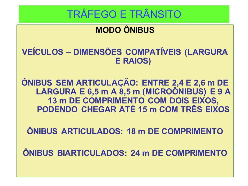 TRÁFEGO E TRÂNSITO MODO ÔNIBUS VEÍCULOS – DIMENSÕES COMPATÍVEIS (LARGURA E RAIOS) ÔNIBUS SEM ARTICULAÇÃO: ENTRE 2,4 E 2,6 m DE LARGURA E 6,5 m A 8,5 m