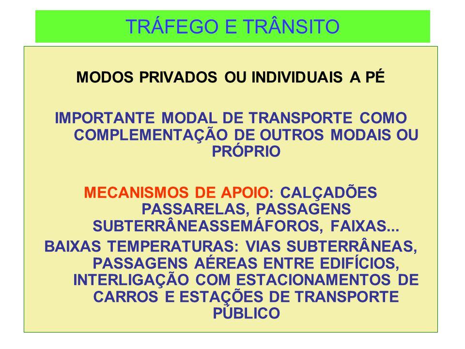 TRÁFEGO E TRÂNSITO MODOS PRIVADOS OU INDIVIDUAIS A PÉ IMPORTANTE MODAL DE TRANSPORTE COMO COMPLEMENTAÇÃO DE OUTROS MODAIS OU PRÓPRIO MECANISMOS DE APO