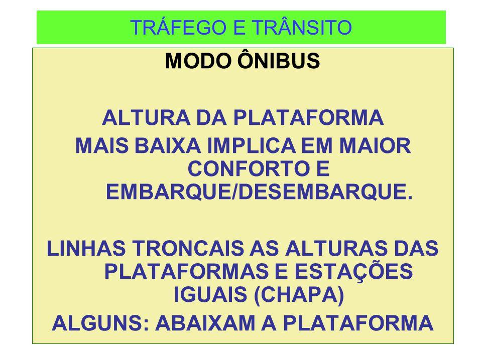 TRÁFEGO E TRÂNSITO MODO ÔNIBUS ALTURA DA PLATAFORMA MAIS BAIXA IMPLICA EM MAIOR CONFORTO E EMBARQUE/DESEMBARQUE. LINHAS TRONCAIS AS ALTURAS DAS PLATAF