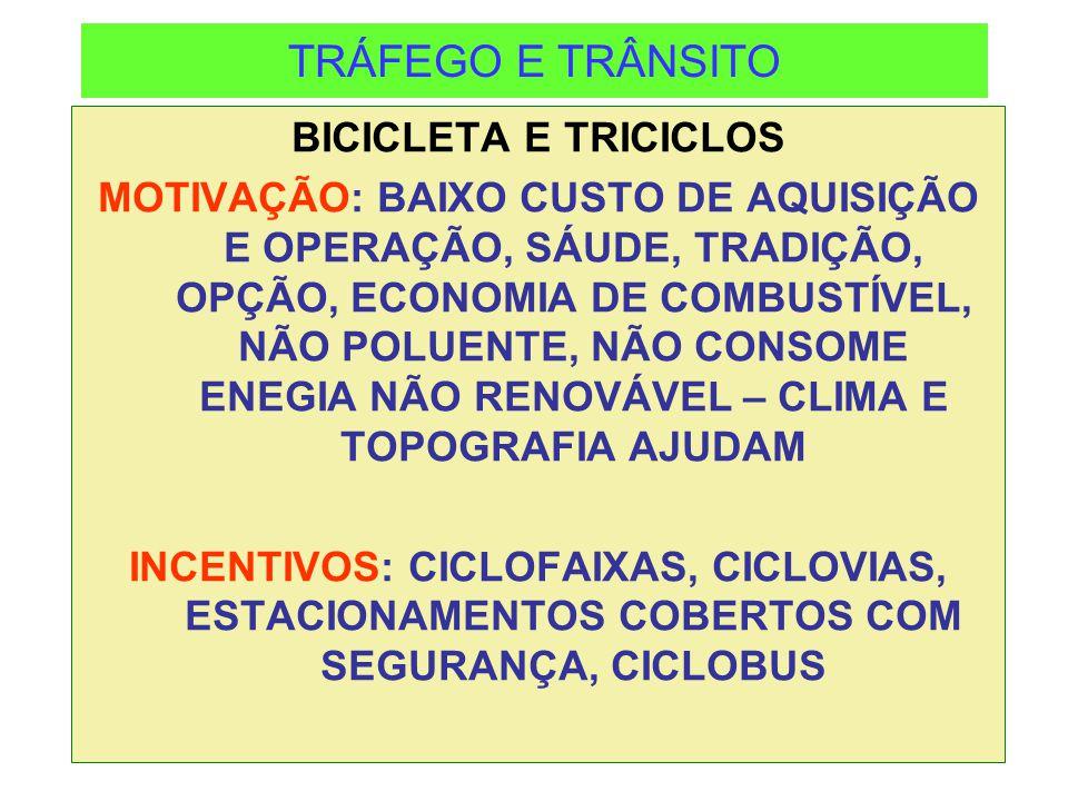 TRÁFEGO E TRÂNSITO BICICLETA E TRICICLOS MOTIVAÇÃO: BAIXO CUSTO DE AQUISIÇÃO E OPERAÇÃO, SÁUDE, TRADIÇÃO, OPÇÃO, ECONOMIA DE COMBUSTÍVEL, NÃO POLUENTE