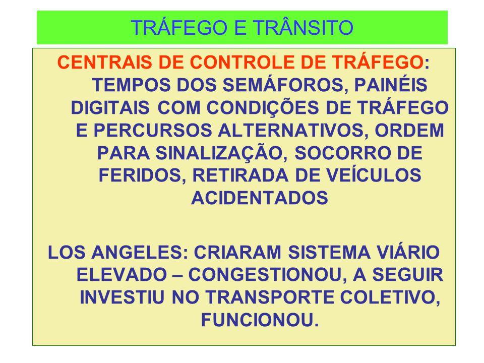 TRÁFEGO E TRÂNSITO CENTRAIS DE CONTROLE DE TRÁFEGO: TEMPOS DOS SEMÁFOROS, PAINÉIS DIGITAIS COM CONDIÇÕES DE TRÁFEGO E PERCURSOS ALTERNATIVOS, ORDEM PA