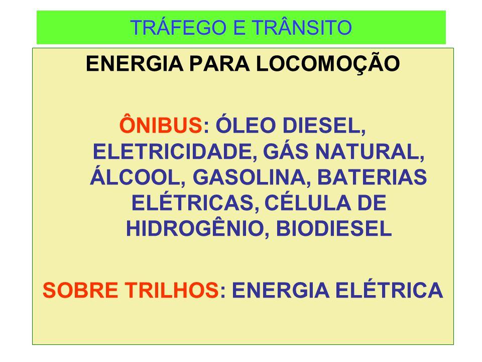 TRÁFEGO E TRÂNSITO ENERGIA PARA LOCOMOÇÃO ÔNIBUS: ÓLEO DIESEL, ELETRICIDADE, GÁS NATURAL, ÁLCOOL, GASOLINA, BATERIAS ELÉTRICAS, CÉLULA DE HIDROGÊNIO,