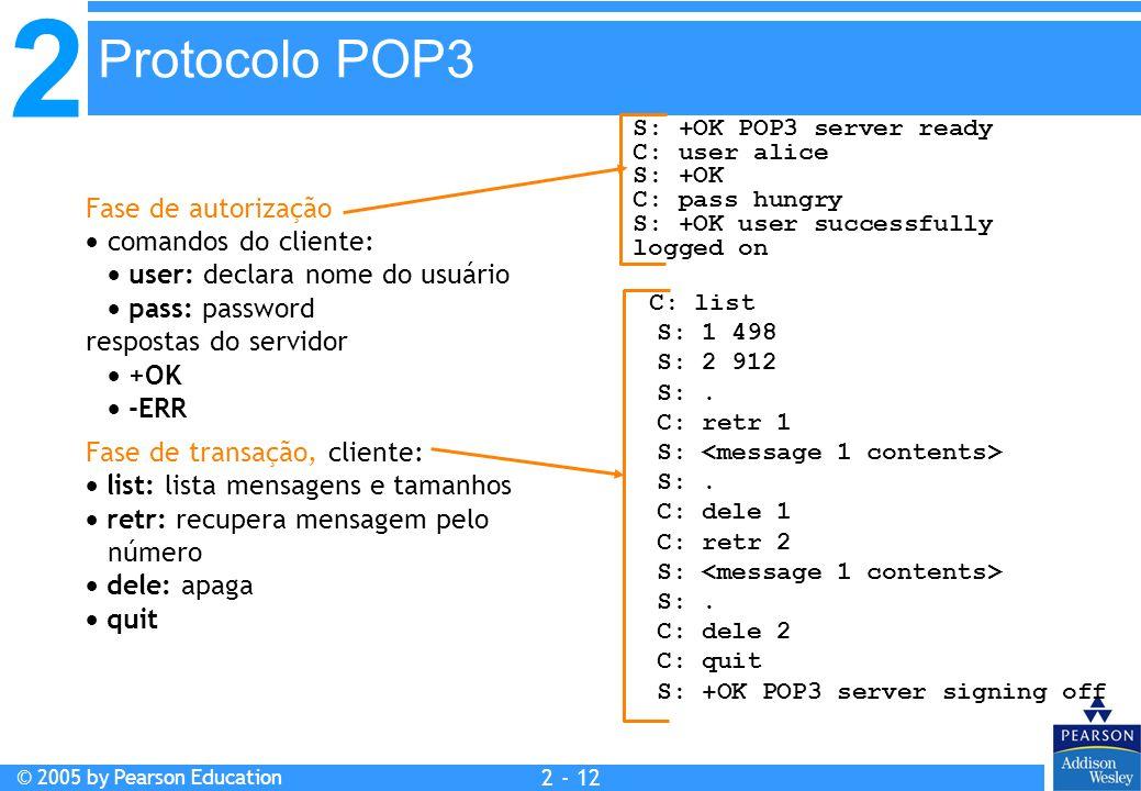 2 © 2005 by Pearson Education 2 - 12 Fase de autorização  comandos do cliente:  user: declara nome do usuário  pass: password respostas do servidor