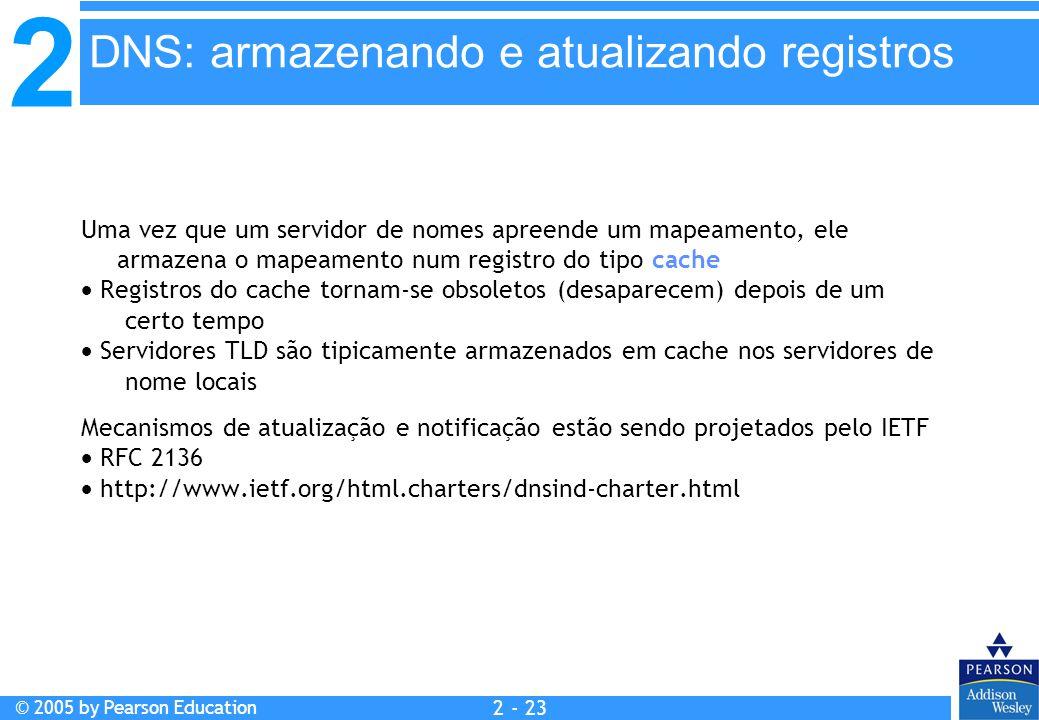 2 © 2005 by Pearson Education 2 - 23 Uma vez que um servidor de nomes apreende um mapeamento, ele armazena o mapeamento num registro do tipo cache  R