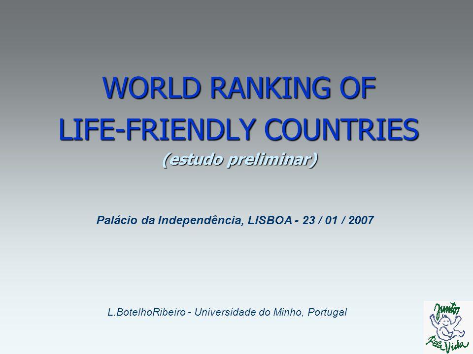 WORLD RANKING OF LIFE-FRIENDLY COUNTRIES (estudo preliminar) L.BotelhoRibeiro - Universidade do Minho, Portugal Palácio da Independência, LISBOA - 23 / 01 / 2007