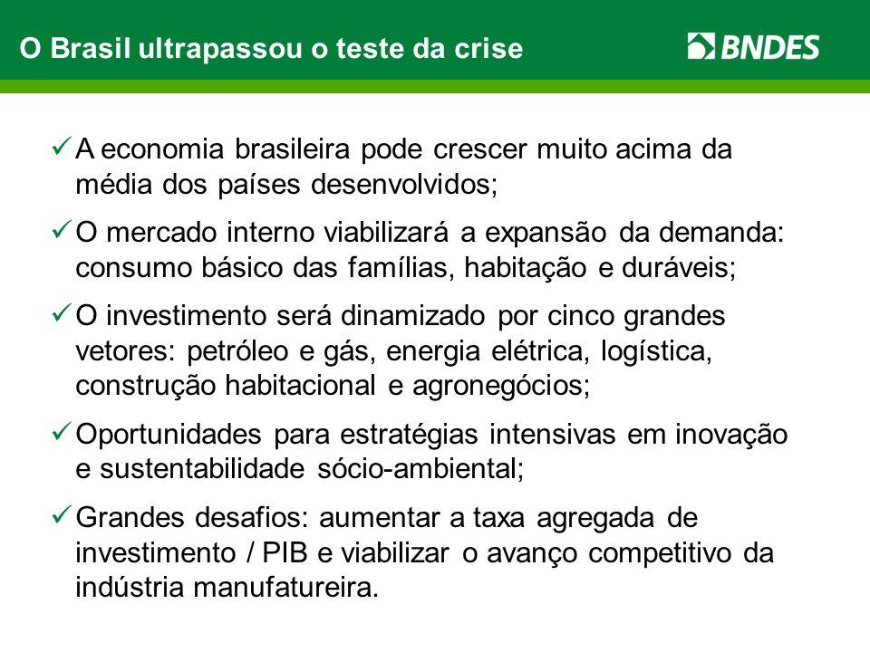 O Brasil ultrapassou o teste da crise A economia brasileira pode crescer muito acima da média dos países desenvolvidos; O mercado interno viabilizará