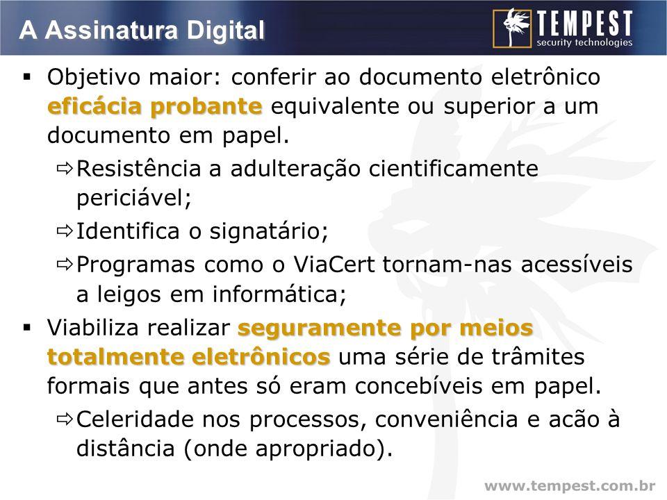 A Assinatura Digital eficácia probante  Objetivo maior: conferir ao documento eletrônico eficácia probante equivalente ou superior a um documento em papel.