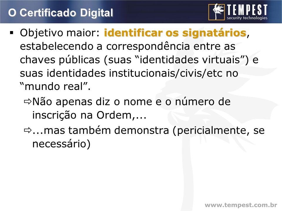 O Certificado Digital identificar os signatários  Objetivo maior: identificar os signatários, estabelecendo a correspondência entre as chaves públicas (suas identidades virtuais ) e suas identidades institucionais/civis/etc no mundo real .