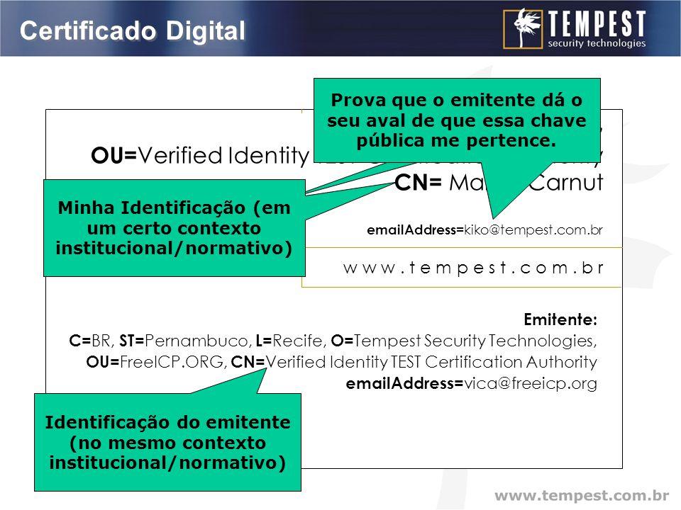Certificado Digital Marco Carnut CISSP – Diretor kiko@tempest.com.br w w w.