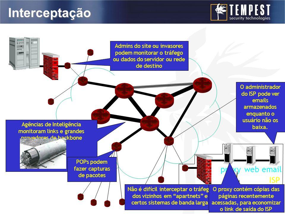 Interceptação firewall proxyweb email O administrador do ISP pode ver emails armazenados enquanto o usuário não os baixa.