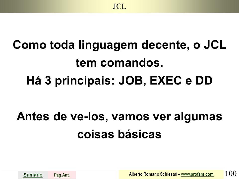 100 Sumário Pag.Ant. Alberto Romano Schiesari – www.profars.comwww.profars.com JCL Como toda linguagem decente, o JCL tem comandos. Há 3 principais: J
