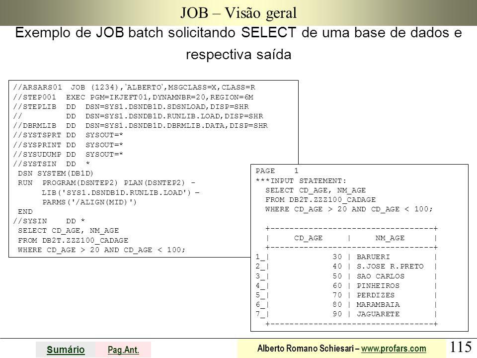 115 Sumário Pag.Ant. Alberto Romano Schiesari – www.profars.comwww.profars.com JOB – Visão geral Exemplo de JOB batch solicitando SELECT de uma base d