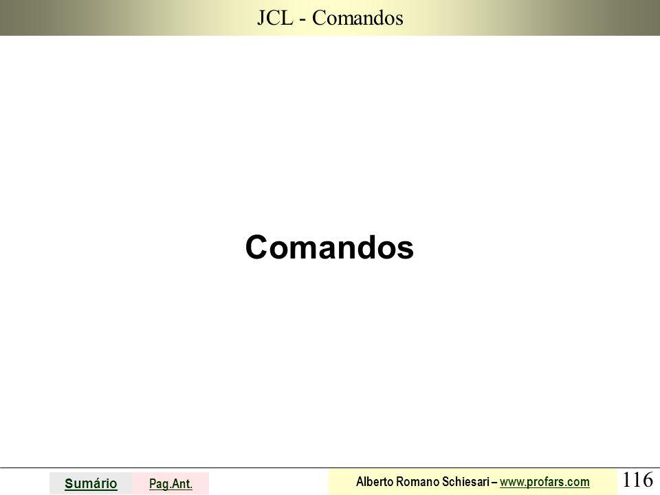 116 Sumário Pag.Ant. Alberto Romano Schiesari – www.profars.comwww.profars.com JCL - Comandos Comandos