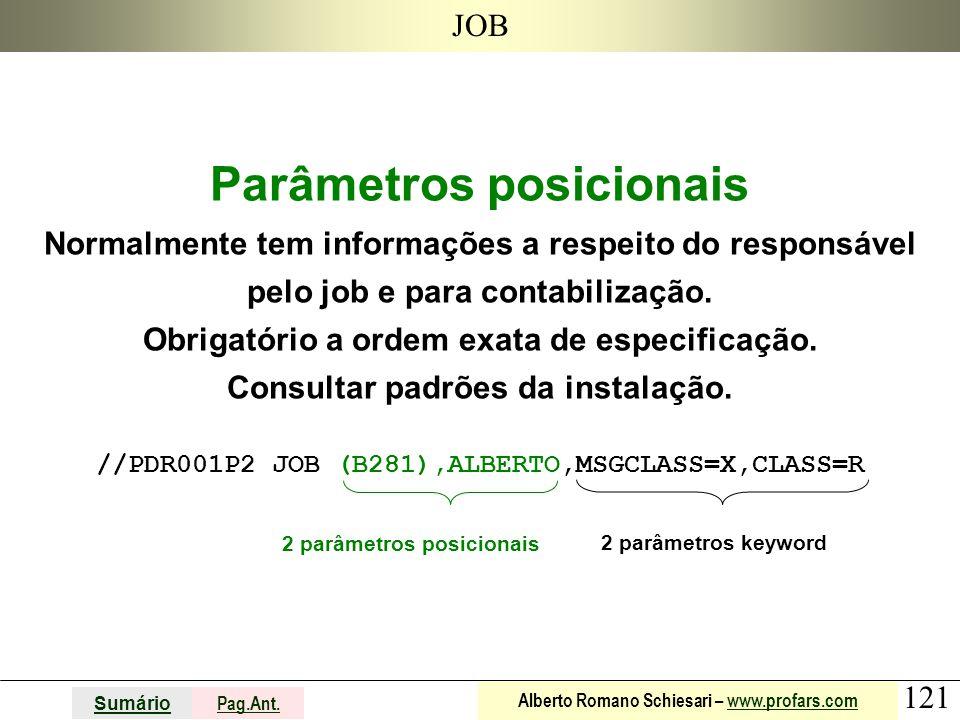 121 Sumário Pag.Ant. Alberto Romano Schiesari – www.profars.comwww.profars.com JOB Parâmetros posicionais Normalmente tem informações a respeito do re