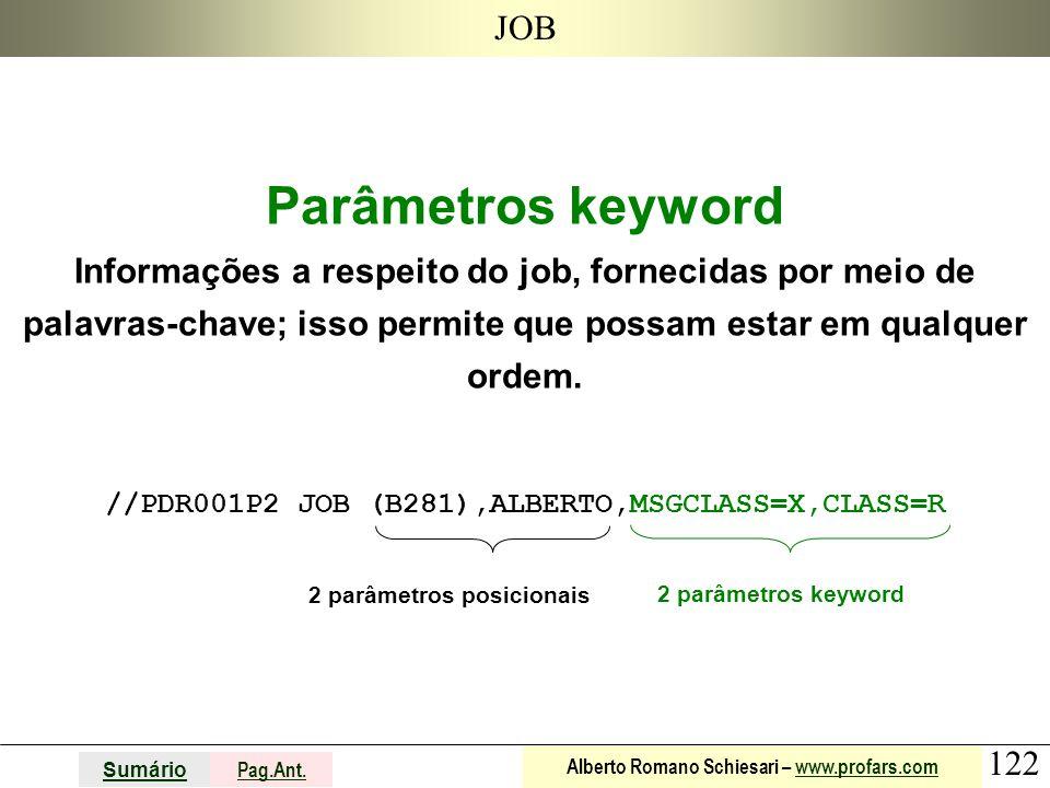 122 Sumário Pag.Ant. Alberto Romano Schiesari – www.profars.comwww.profars.com JOB Parâmetros keyword Informações a respeito do job, fornecidas por me