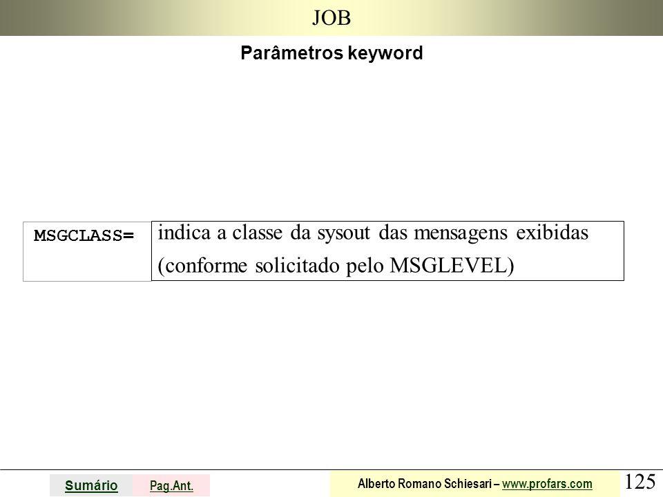 125 Sumário Pag.Ant. Alberto Romano Schiesari – www.profars.comwww.profars.com JOB Parâmetros keyword MSGCLASS= indica a classe da sysout das mensagen