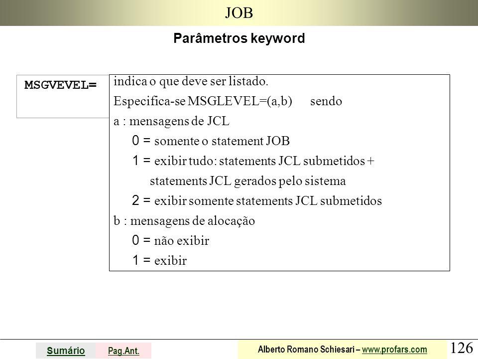 126 Sumário Pag.Ant. Alberto Romano Schiesari – www.profars.comwww.profars.com JOB Parâmetros keyword MSGVEVEL= indica o que deve ser listado. Especif
