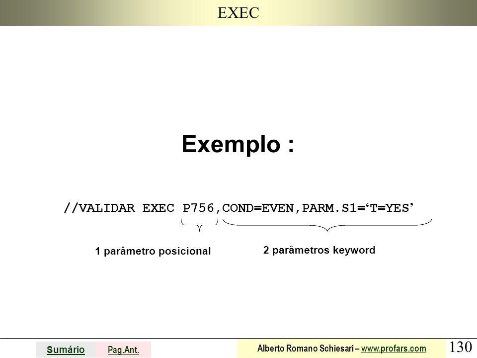 130 Sumário Pag.Ant. Alberto Romano Schiesari – www.profars.comwww.profars.com EXEC Exemplo : //VALIDAR EXEC P756,COND=EVEN,PARM.S1= ' T=YES ' 1 parâm