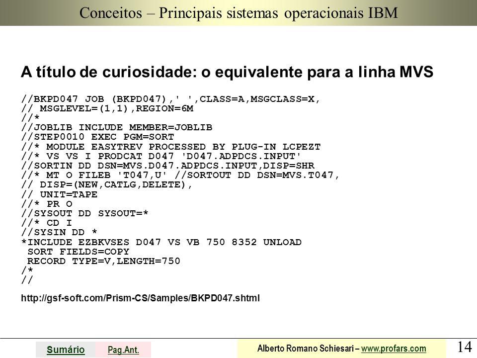 14 Sumário Pag.Ant. Alberto Romano Schiesari – www.profars.comwww.profars.com Conceitos A título de curiosidade: o equivalente para a linha MVS //BKPD