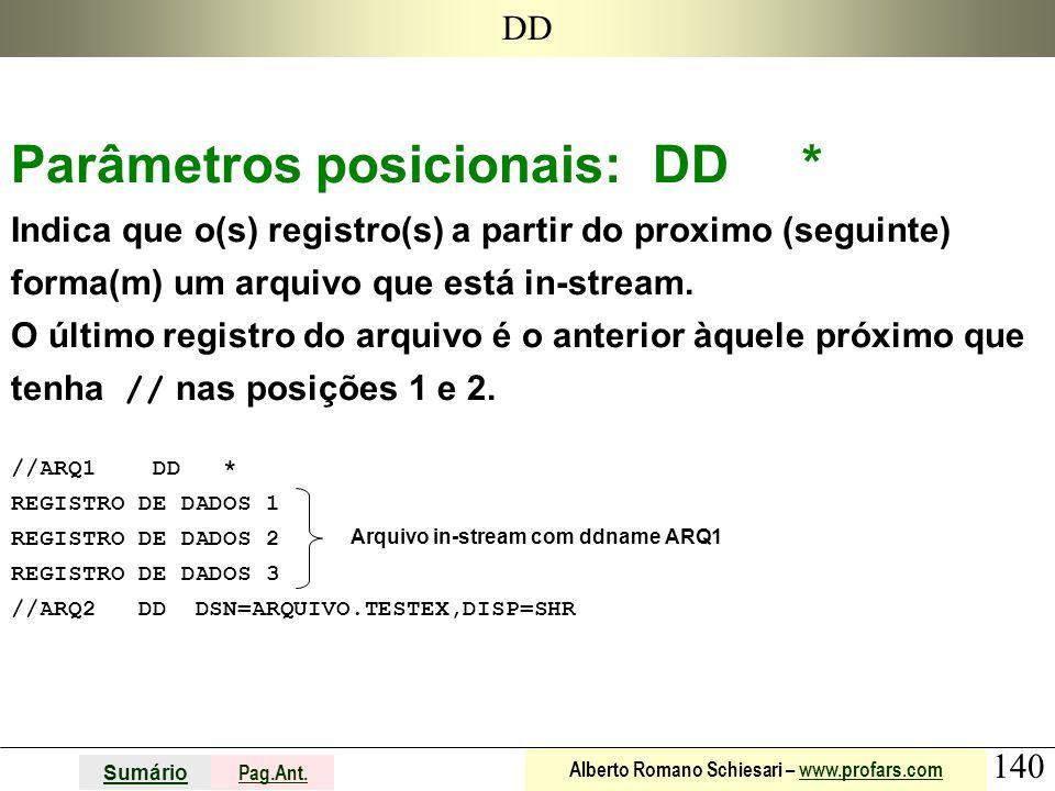 140 Sumário Pag.Ant. Alberto Romano Schiesari – www.profars.comwww.profars.com DD Parâmetros posicionais: DD * Indica que o(s) registro(s) a partir do
