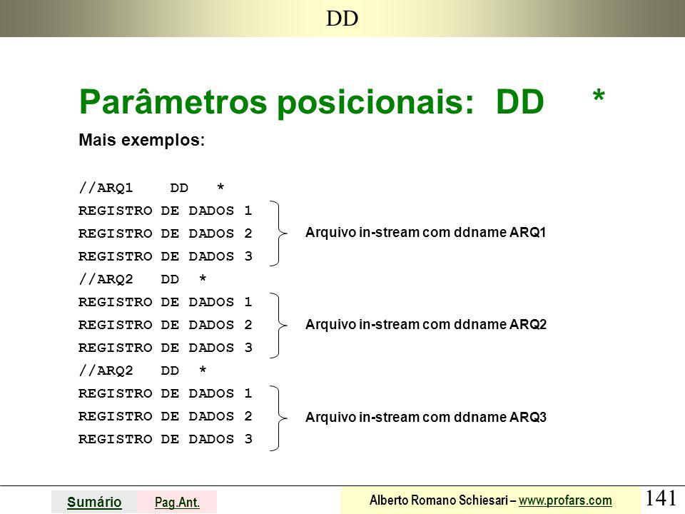 141 Sumário Pag.Ant. Alberto Romano Schiesari – www.profars.comwww.profars.com DD Parâmetros posicionais: DD * Mais exemplos: //ARQ1 DD * REGISTRO DE