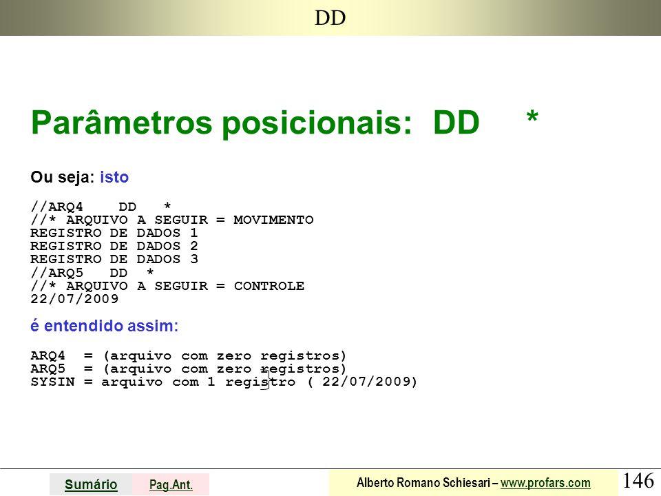 146 Sumário Pag.Ant. Alberto Romano Schiesari – www.profars.comwww.profars.com DD Parâmetros posicionais: DD * Ou seja: isto //ARQ4 DD * //* ARQUIVO A