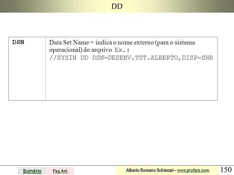 150 Sumário Pag.Ant. Alberto Romano Schiesari – www.profars.comwww.profars.com DD DSN Data Set Name = indica o nome externo (para o sistema operaciona