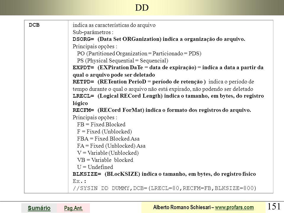 151 Sumário Pag.Ant. Alberto Romano Schiesari – www.profars.comwww.profars.com DD DCB indica as características do arquivo Sub-parâmetros : DSORG= (Da