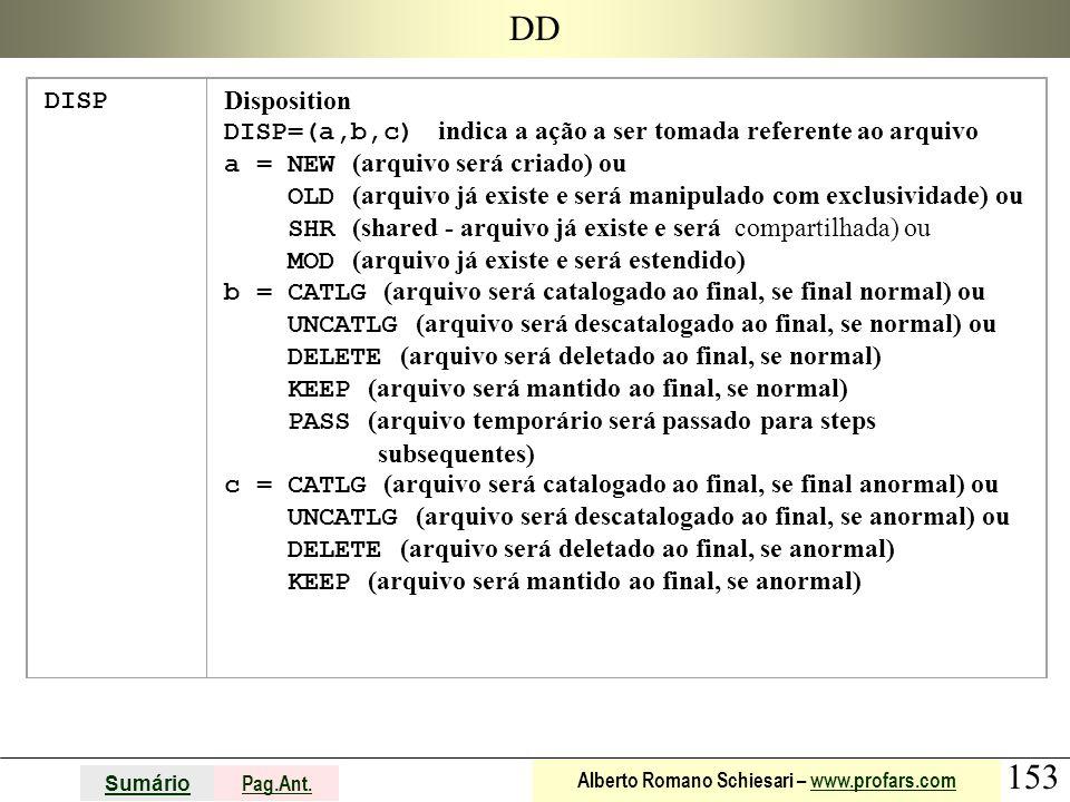 153 Sumário Pag.Ant. Alberto Romano Schiesari – www.profars.comwww.profars.com DD DISP Disposition DISP=(a,b,c) indica a ação a ser tomada referente a